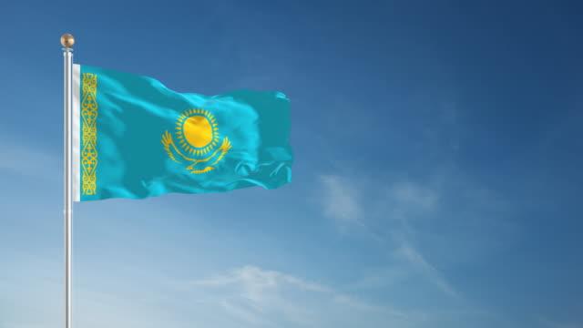 4 k のカザフスタンの国旗 - 単発 - 旗棒点の映像素材/bロール