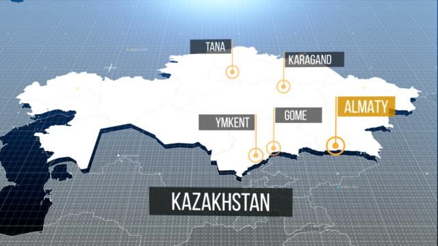 kazakhstan map - kazakhstan stock videos and b-roll footage