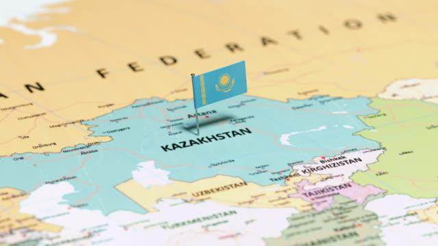 kazakhstan with national flag - kazakhstan stock videos & royalty-free footage