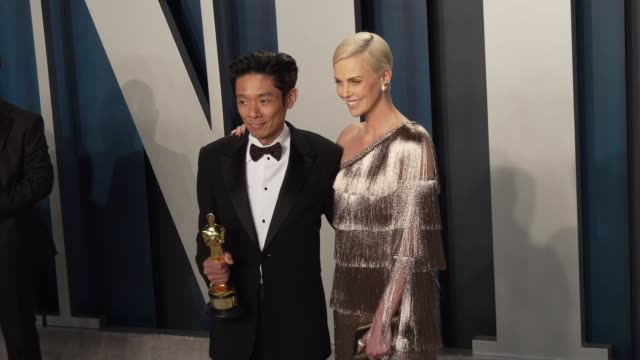 kazu hiro and charlize theron at vanity fair oscar party at wallis annenberg center for the performing arts on february 9, 2020 in beverly hills,... - vanity fair stock videos & royalty-free footage