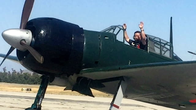 Kazuaki Yanagida operates an Imperial Japanese Navy Zero fighter plane used during World War II near Chino Airport in Chino Calif on April 302017...