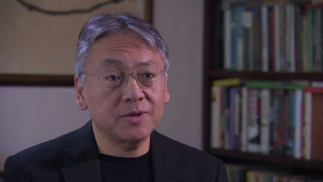 kazuo ishiguro saying in this age of false news i thought it was perhaps a mistake after hearing he had won the nobel prize for literature - nobel prize in literature stock videos & royalty-free footage