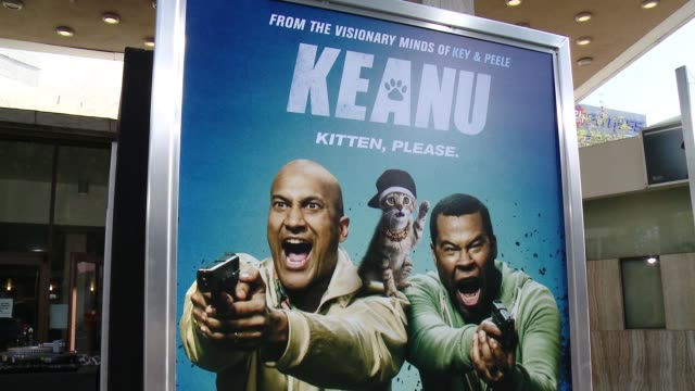 stockvideo's en b-roll-footage met signage keanu los angeles premiere at arclight cinemas cinerama dome on april 27 2016 in hollywood california - cinerama dome hollywood