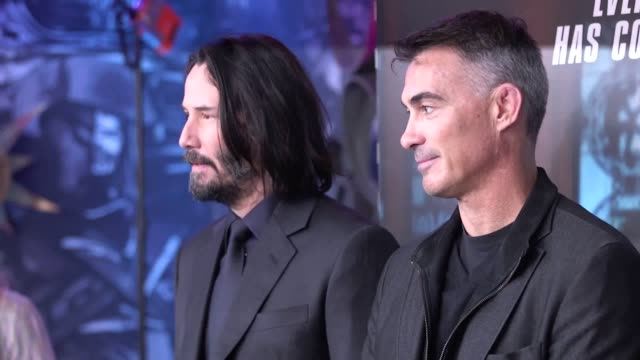 keanu reeves and chad stahelski attend the john wick: chapter 3 - parabellum special screening held at ham yard hotel, london. - keanu reeves stock videos & royalty-free footage