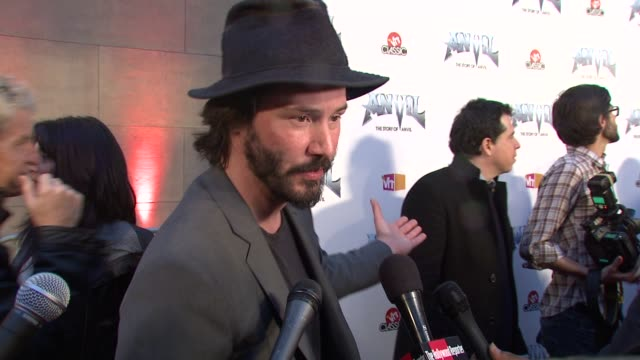 keanu reeves and sacha gervasi on the event metal music at the 'anvil the story of anvil' premiere at los angeles ca - anvil the story of anvil stock videos and b-roll footage