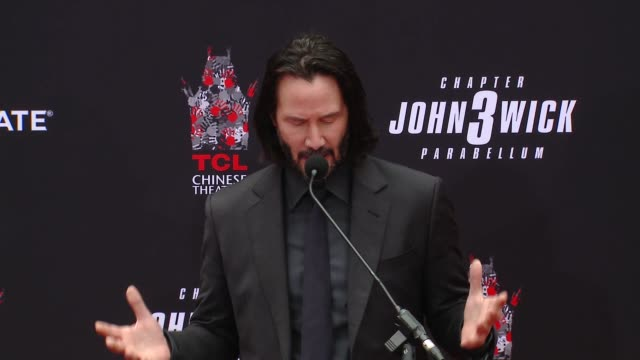 keanu reeves at keanu reeves hand & footprint ceremony at tcl chinese theatre on may 14, 2019 in hollywood, california. - keanu reeves stock videos & royalty-free footage