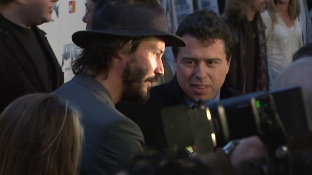 keanu reeves at the 'anvil the story of anvil' premiere at los angeles ca - anvil the story of anvil stock videos and b-roll footage