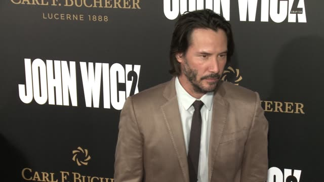 """keanu reeves at the """"john wick: chapter 2"""" us premiere at arclight hollywood on january 30, 2017 in hollywood, california. - keanu reeves stock videos & royalty-free footage"""