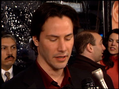 keanu reeves at the 'sweet november' premiere at the bruin theatre in westwood, california on february 12, 2001. - keanu reeves stock videos & royalty-free footage