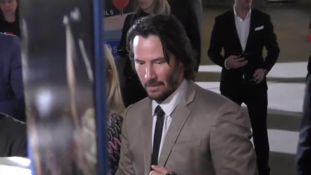 keanu reeves greets fans outside the john wick 2 premiere at arclight theatre in hollywood in celebrity sightings in los angeles, - keanu reeves stock videos & royalty-free footage