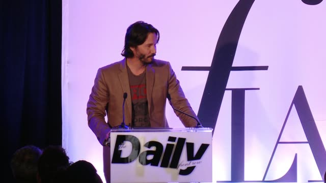 keanu reeves mentions jeanne and how they met. use last line enthusiastic introducing jeanne at the the daily front row hosts 2nd annual fashion los... - keanu reeves stock videos & royalty-free footage