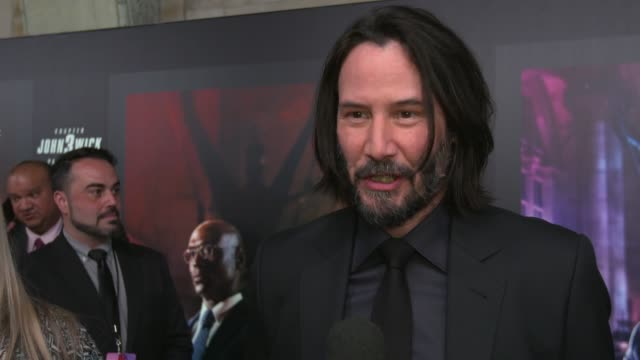 """keanu reeves on filming in new york city, on being back where it was filmed, on what fans can expect at """"john wick: chapter 3 - parabellum"""" new york... - keanu reeves stock videos & royalty-free footage"""