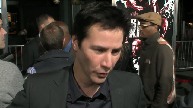 keanu reeves on his role, how challenging it was, and training with live ammunition at the 'street kings' premiere on april 3, 2008. - keanu reeves stock videos & royalty-free footage