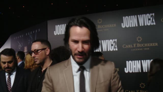 keanu reeves on how it felt to dive back into the world of john wick, what new aspects of the world are awaiting audiences in the second chapter and... - keanu reeves stock videos & royalty-free footage