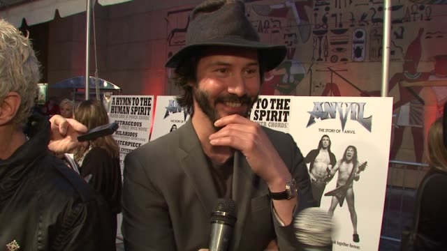 keanu reeves on the event metal music at the 'anvil the story of anvil' premiere at los angeles ca - anvil the story of anvil stock videos and b-roll footage