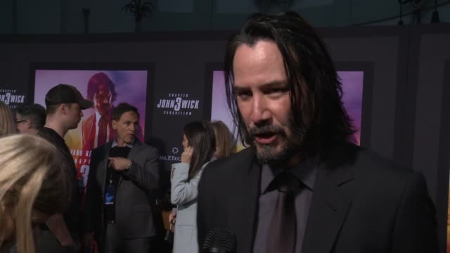 """keanu reeves on the film at """"john wick: chapter 3 - parabellum"""" los angeles special screening at tcl chinese theatre on may 15, 2019 in hollywood,... - keanu reeves stock videos & royalty-free footage"""