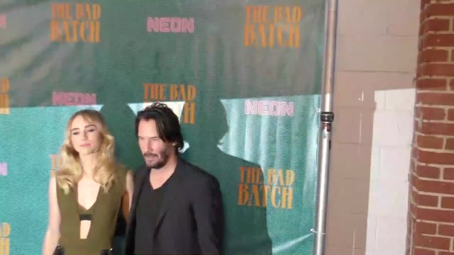 keanu reeves & suki waterhouse at the bad batch premiere at resident theatre in los angeles at the premiere of neon's 'the bad batch' on june 19,... - keanu reeves stock videos & royalty-free footage