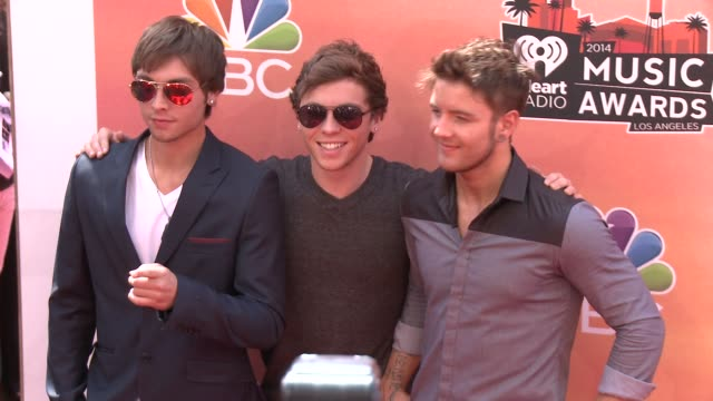 keaton stromberg, wesley stromberg, and drew chadwick of emblem3 at the 2014 iheartradio music awards - arrivals at the shrine auditorium on may 01,... - shrine auditorium stock videos & royalty-free footage