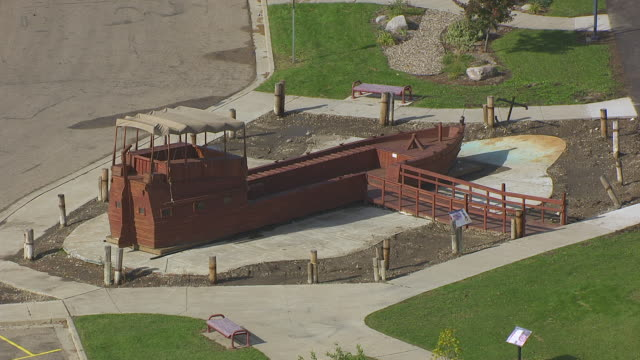 ws keelboat model at keelboat park / bismarck, north dakota, united states  - bismarck north dakota stock videos & royalty-free footage