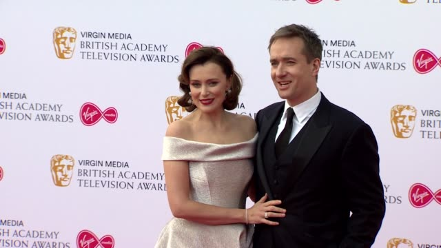 keeley hawes and matthew macfadyen pose for photos on red carpet at bafta tv awards 2019 at royal festival hall london - two people stock videos & royalty-free footage