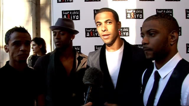 'keep a child alive' black ball: arrivals and interviews; jls interview sot - why they are supporting the charity - love alicia keys / loved being in... - britain's got talent stock-videos und b-roll-filmmaterial