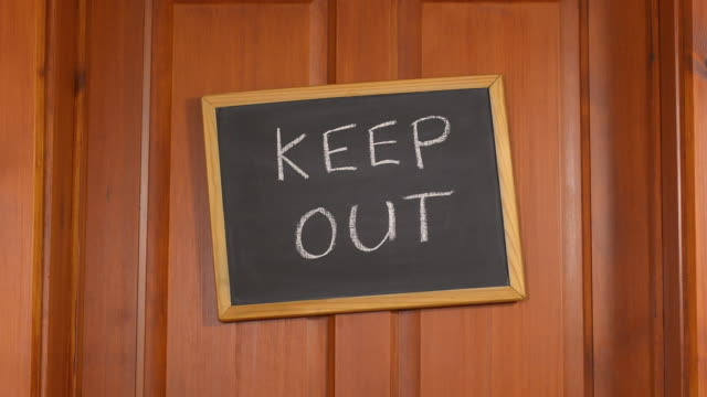 keep out sign on a door - keep out sign stock videos & royalty-free footage