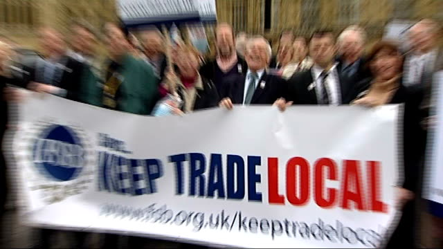 'Keep Trade Local' demonstration outside Parliament ENGLAND London Westminster Houses of Parliament EXT Members of the Federation of Small Businesses...