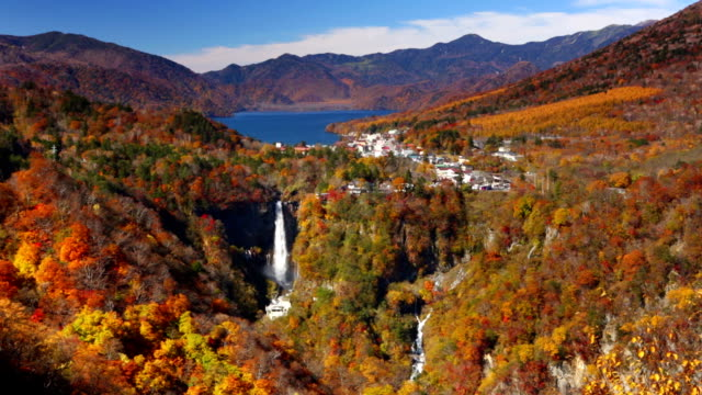kegon falls near nikko, japan in autumn - autumn leaf color stock videos and b-roll footage
