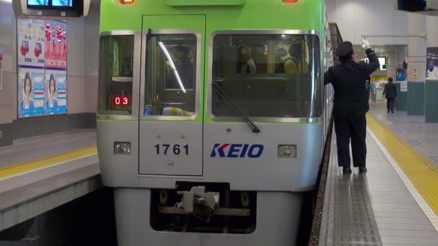 keio inokashira line - transport conductor stock videos & royalty-free footage