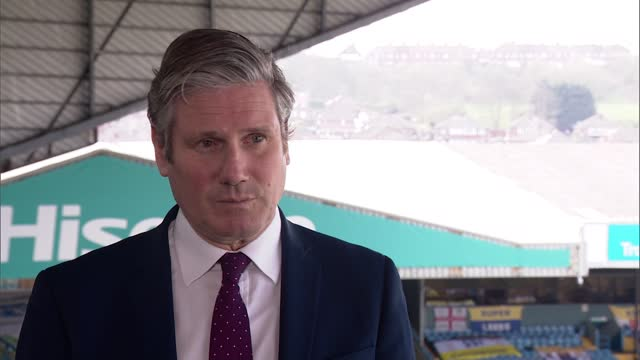 keir starmer interview; england: west yorkshire: leeds: elland road stadium: ext sir keir starmer mp interview continued sot - re possible regulation... - turning on or off stock videos & royalty-free footage