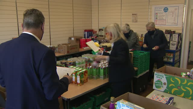 keir starmer, labour leader, helps at food bank in pontefract, as he campaigns for the labour party in the local elections - concepts stock videos & royalty-free footage