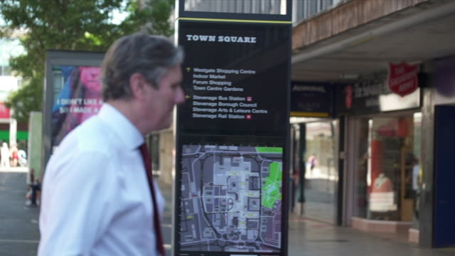 keir starmer mp, labour leader, on walkabout in stevenage town centre - keir starmer stock videos & royalty-free footage