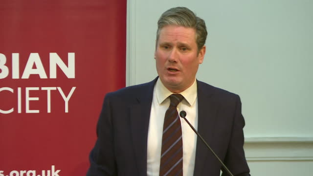 """keir starmer, shadow brexit secretary, speech at fabian society conference, says about brexit """"a public vote has to be an option for labour"""" - mp stock videos & royalty-free footage"""