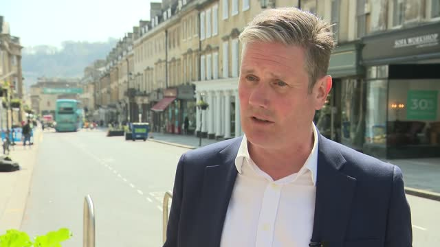 keir starmer visit to bath; england: somerset: bath: ext **glitch at start of interview - quality as incoming** keir starmer mp interview sot. -... - politics stock-videos und b-roll-filmmaterial