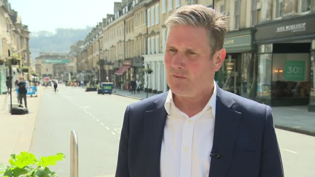 keir starmer visit to bath; england: somerset: bath: ext keir starmer mp interview sot. - every day we see another example of sleaze, make no... - politics stock-videos und b-roll-filmmaterial