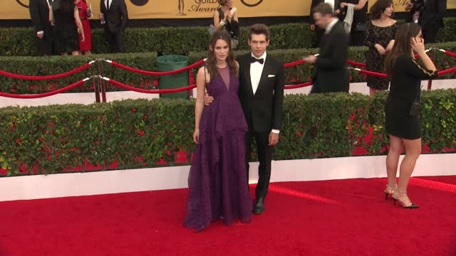 keira knightley and james righton at the 21st annual screen actors guild awards - arrivals at the shrine auditorium on january 25, 2015 in los... - shrine auditorium stock videos & royalty-free footage