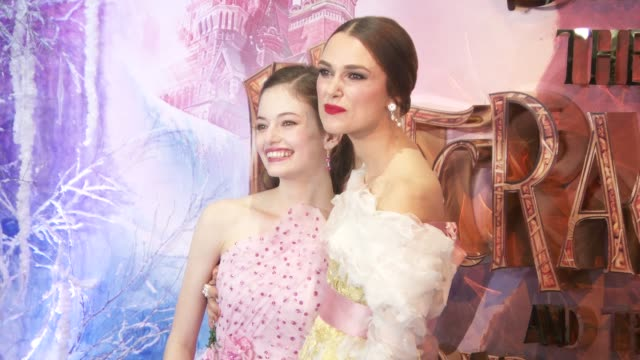 Keira Knightley and Mackenzie Foy at The Nutcracker And The Four Realms Gala Screening on November 1 2018 in London England