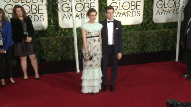 keira knightley at the 72nd annual golden globe awards - arrivals at the beverly hilton hotel on january 11, 2015 in beverly hills, california. - the beverly hilton hotel stock videos & royalty-free footage