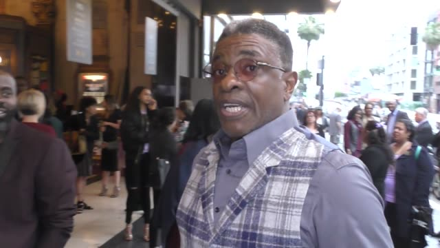 keith david talks about roseanne being canceled outside the color purple opening night at the pantages theatre in celebrity sightings in los angeles, - パンテージスシアター点の映像素材/bロール