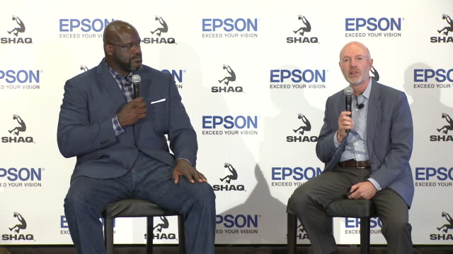 speech keith kratzberg at the epson and shaquille o'neal announce new partnership in los angeles ca - teamwork stock videos & royalty-free footage