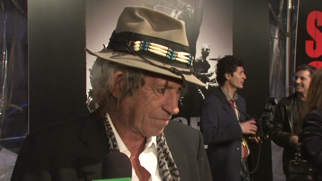 Keith Richards on the music played in the film his opinion being on screen and what he would have done differently in his career at the Premiere of...
