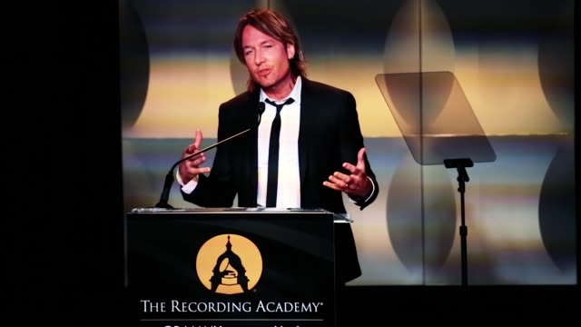Keith Urban fourtime GRAMMY winner speaks after receiving the Recording Artists' Coalition Award at The Hamilton LIVE Washington DC USA on Wednesday...