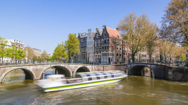 Keizersgracht Canal and tourist boats, Amsterdam, Netherlands