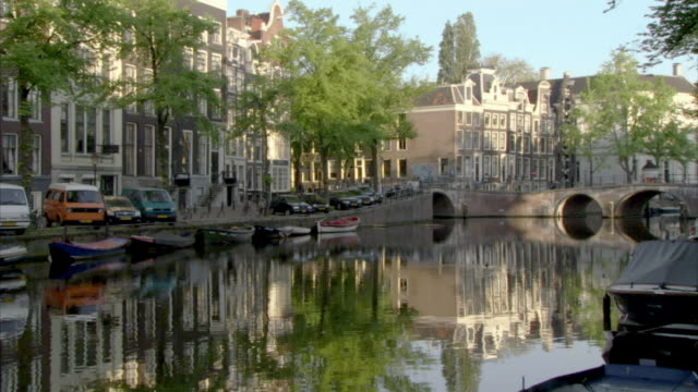 WS Keizersgracht canal reflecting buildings along waterfront / Amsterdam, Netherlands