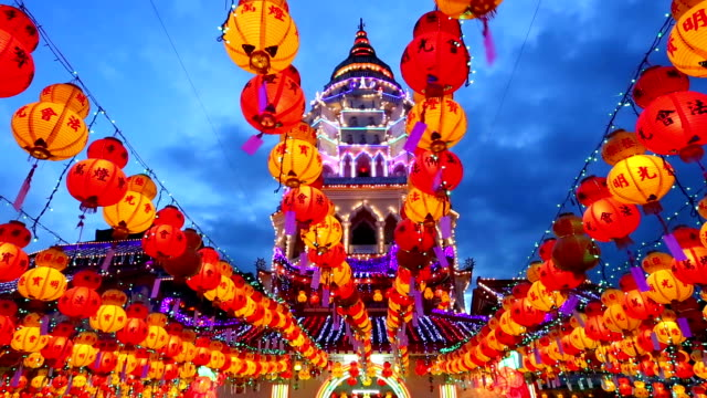 kek lok si temple chinese new year penang malaysia - cultures stock videos & royalty-free footage