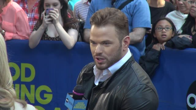 Kellan Lutz being interviewed on the outside set of the Good Morning America show in Times Square Celebrity Sightings in New York on August 14 2014...