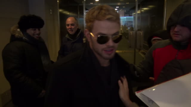 Kellan Lutz leaves the Today show in Rockefeller Center and signs for and poses with fans before getting into his car in Celebrity Sightings in New...