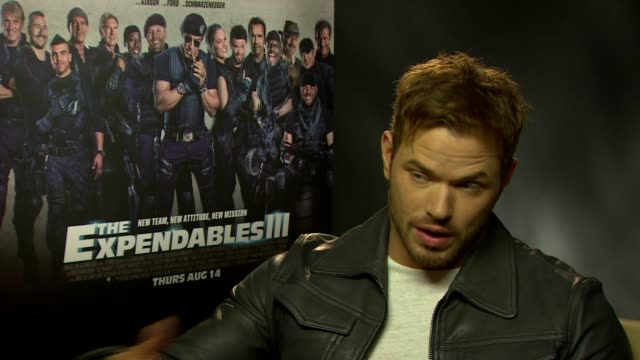 interview kellan lutz on the next film in the franchise at 'the expendables 3' interviews at corinthia hotel london on august 04 2014 in london... - franchising stock-videos und b-roll-filmmaterial