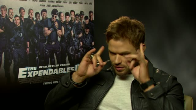 INTERVIEW Kellan Lutz on wanting to be an actor when he was younger working with the cast at 'The Expendables 3' Interviews at Corinthia Hotel London...