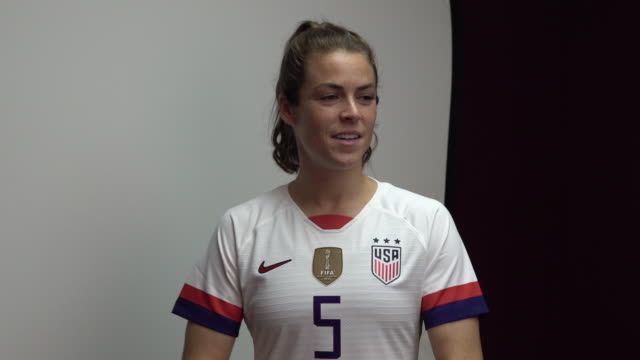 kelley o'hara at fifa womens world cup france 2019 team arrival meeting and portrait session on june 08 2019 in reims - soccer association stock videos & royalty-free footage